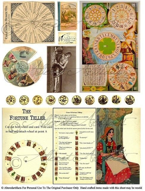 The Fortune Teller Vintage Game Postcard Halloween Emphrea Clip Art Digital Collage Sheet Download via Etsy