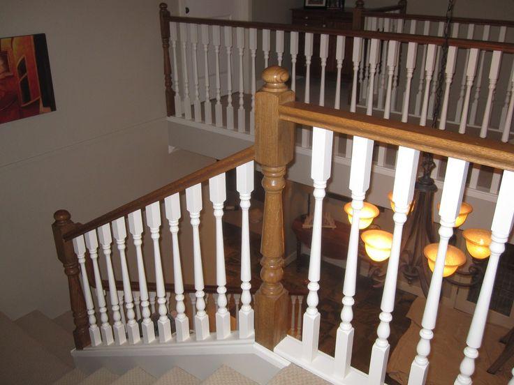 White painted wood railing, leaving the post beams wood ...