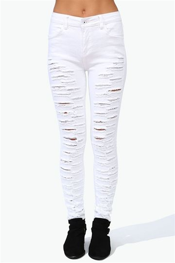 Ripped Skinny Jeans - White