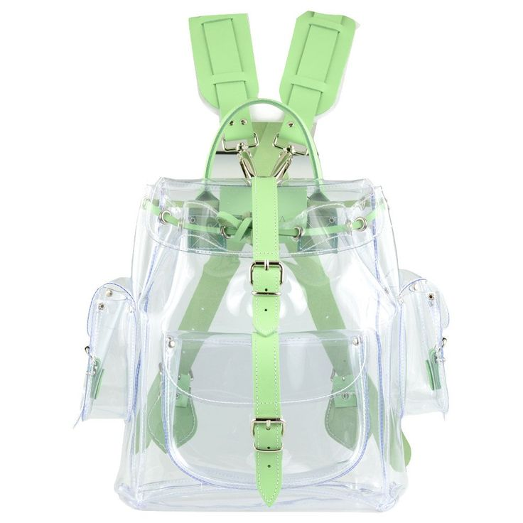 Grafea CRYSTAL CLEAR PVC and LEATHER (MINT) BACKPACK