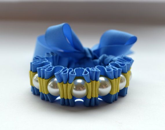 SO PRETTY! Cerulean Blue and Lemony Yellow Bracelet. Twilly Stripe Ribbon by @twillypop