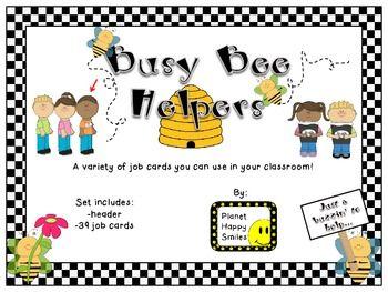 Classroom Helper Jobs EDITABLE Busy Bees Theme