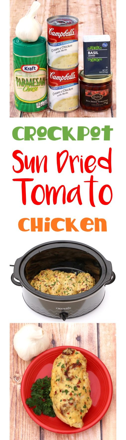 Crockpot Chicken Recipes! This Sun Dried Tomato Chicken is so EASY to make and will become a family favorite! Simple, delicious, and the perfect Slow Cooker meal for busy weeknights! | TheFrugalGirls.com