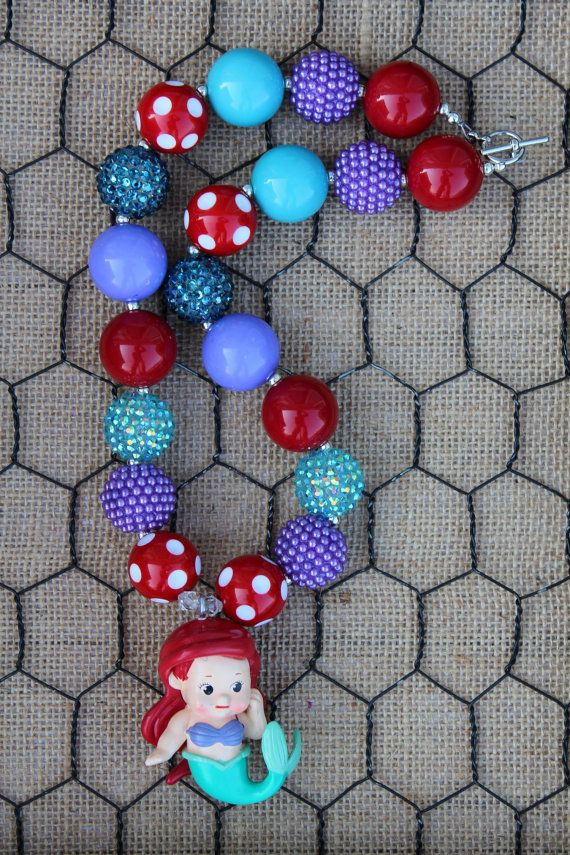 Ariel Inspired Chunky Bubblegum Necklace by OhPrettyPlease on Etsy, $20.00