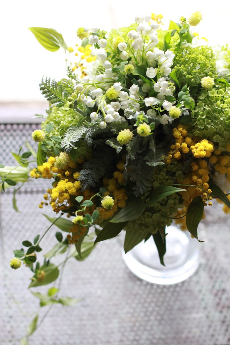 Floral Arrangement ~ Yellow and White