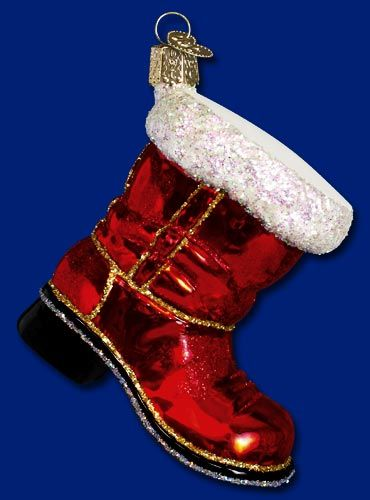 Santa's Boot,  Christmas Glass Ornaments  www.oldworldchristmas.com