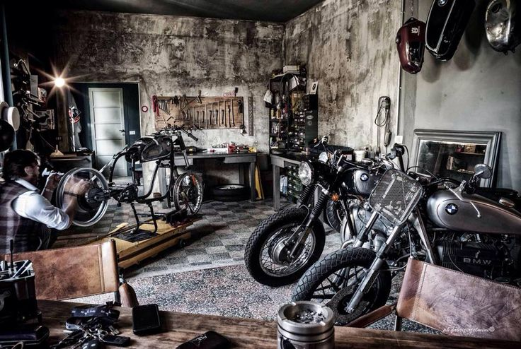 Man Cave Garage Art : Motorcycle shop cycleshop backyardbuilder bmw