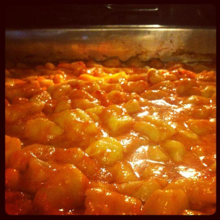 Gnocchi al Forno Recipe: Cook your gnocchi, add tomato sauce, parmigiano and mozzarella, all quanto basta. Bake in oven for 30 min. Buon appetito!