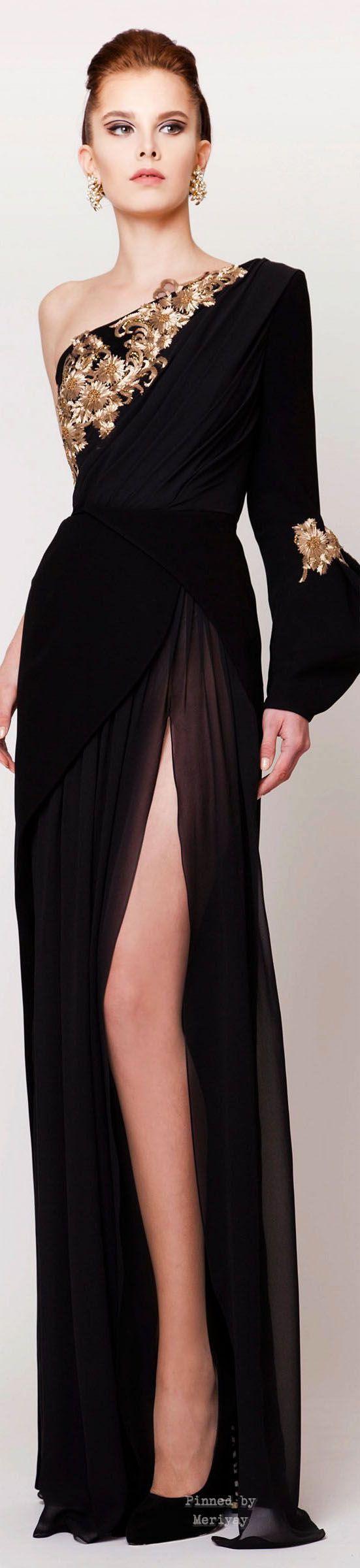 Azzi & Osta ~ Spring One Shoulder Front Split Gown, Black 2015.