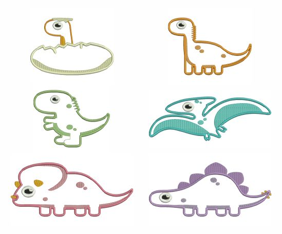 BESV542 - Cute Dino Applique ROOAAR - These fun little Cute Dino's are great fun to add spruce up babies onsie or add to a kiddies quilt or T-shirt.  They come in various sizes so there is something for everyone.  See how easy it is to create applique designs. Have a look at our full photo tutorial learn how to make these fantastic applique designs http://tinyurl.com/hulhotb