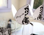 Printable Damask Butterfly Place cards