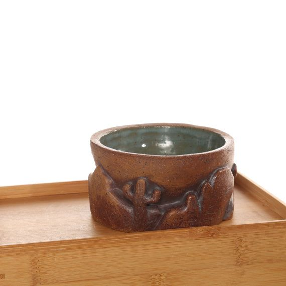 Ceramic Bowl with Carved Cactus and Mountains, small bowl, salsa bowl, southwestern, desert,