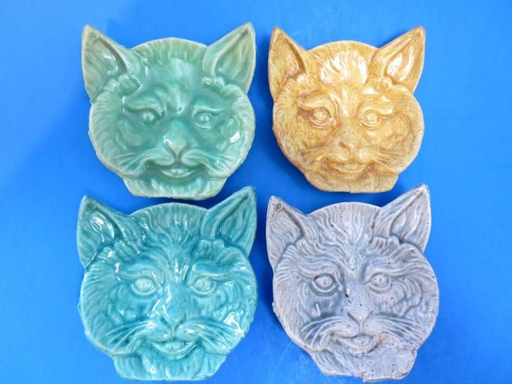 Set of 4 Majolica Vintage Primitive Ceramic Victorian Cat Face Spoon Rests