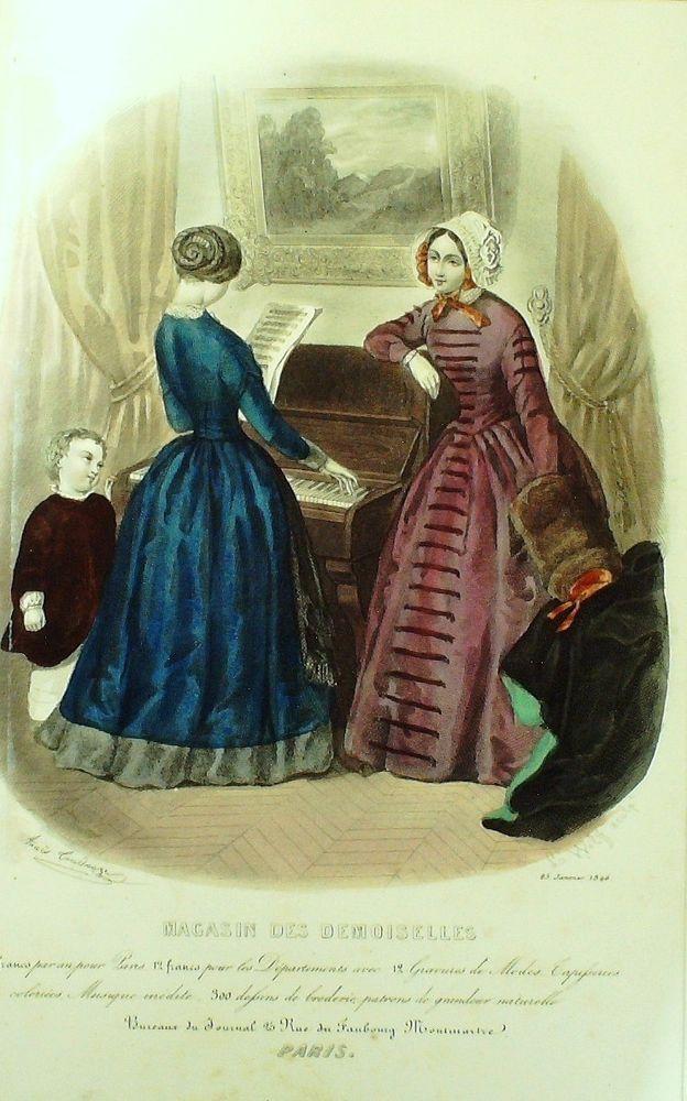Januar 1846  ++++++++++  GRAVURE de MODE AUTHENTIQUE-X166-MAGASIN DEMOISELLES-HABITS D INTERIEUR-1846