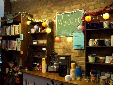 Brick walls and mini lanterns cafe shop inspo for Mini coffee bar