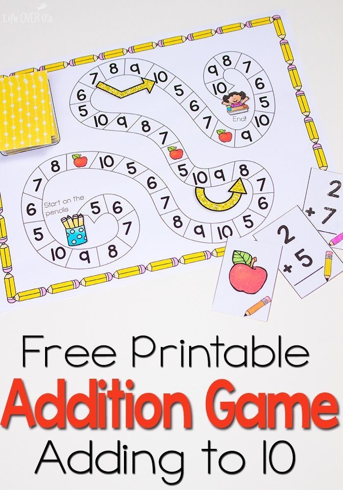 This free printable addition game is a great way to practice adding to 10!