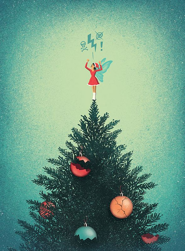 Davide Bonazzi - Angry at Christmas. Client: The Telegraph's Stella magazine. #conceptual #editorial #illustration #christmas #holidays #winter #fairy #angry #santa #stress #davidebonazzi