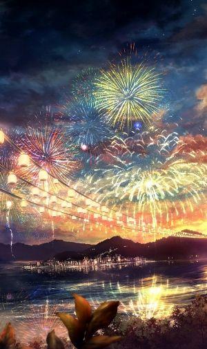 夏祭りの花火のiPhone壁紙 | 壁紙キングダム スマホ版