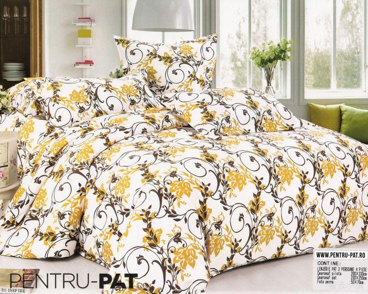 Lenjerie de pat bumbac satinat Casa New Fashion cu model floral maro si galben