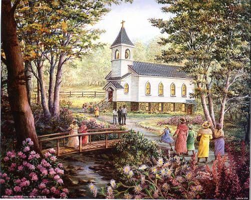 Black Church Goers Painting