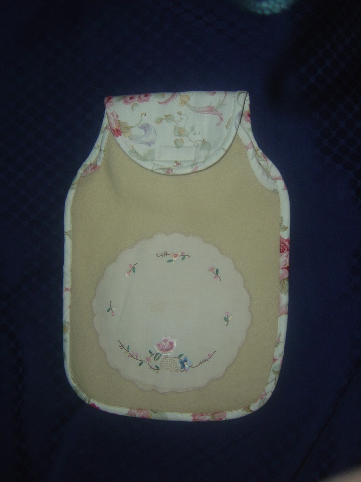 Cozy warm hot water bottle cover.  I use upcycled woolen blankets and doilies combined with beautiful cotton fabric