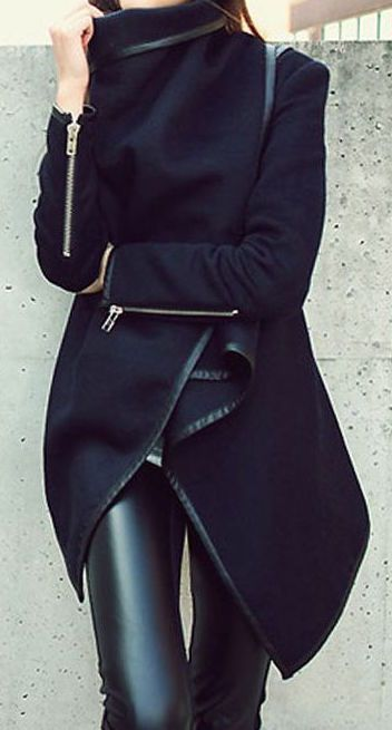 #fall #fashion / black coat + leather http://womanaccesories.space/shop/ashir-aley-beautiful-flowy-summber-chiffon-long-maxi-skirt