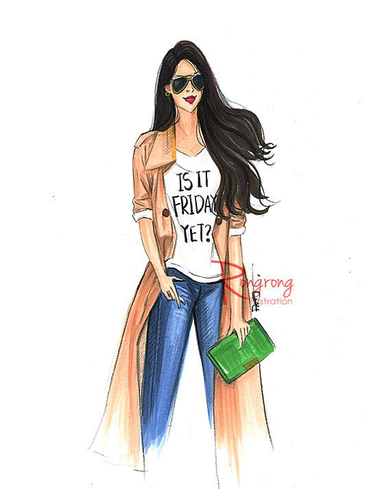 Fashion illustration of a fashionista in Fall fashion. Great fun fashion sketch done by markers for chic home office, dressing room or bathroom. Titled, Is it Friday yet?  Artwork print is printed on high quality semi-glossy photo paper, signed and shipped with care in a clear cello bag and a bend proof mailer.  Follow me on Instagram @Rongrong_devoe_illustration for new works! Canvas wall art is made to order. I cant offer refunds. More artworks please click https://www.etsy.com&#x...