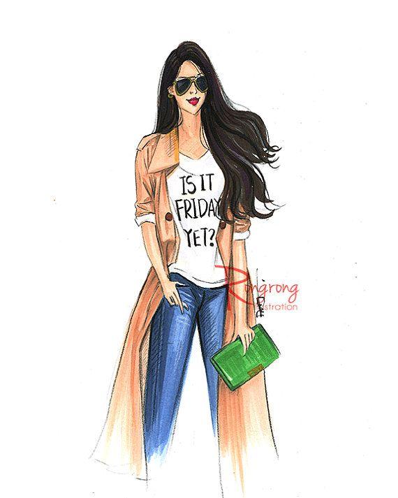 Fashion Sketch,Fashion art,Fashion illustration,Chic wall art, Fashion print,fashion poster,Titled,Is it Friday yet?