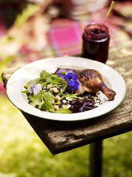 Crispy duck with fire-roasted plum sauce | Jamie Oliver