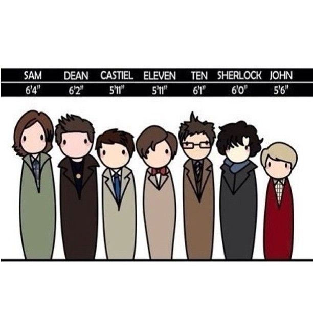 A handy height chart. I keep forgetting Misha is not short, he's just shorter than Jared and Jensen. And David Tennant. And Benedict Cumberbatch.
