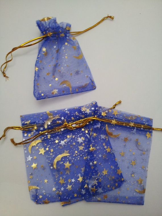 10 Blue Moon Stars Organza Bags 7x9cm(apporx2.75x3.5in), Jewelry Bags, Wedding Supplies, Favor Bags, Gift Bags, Jewelry Pouches, Bags on Etsy, $1.79
