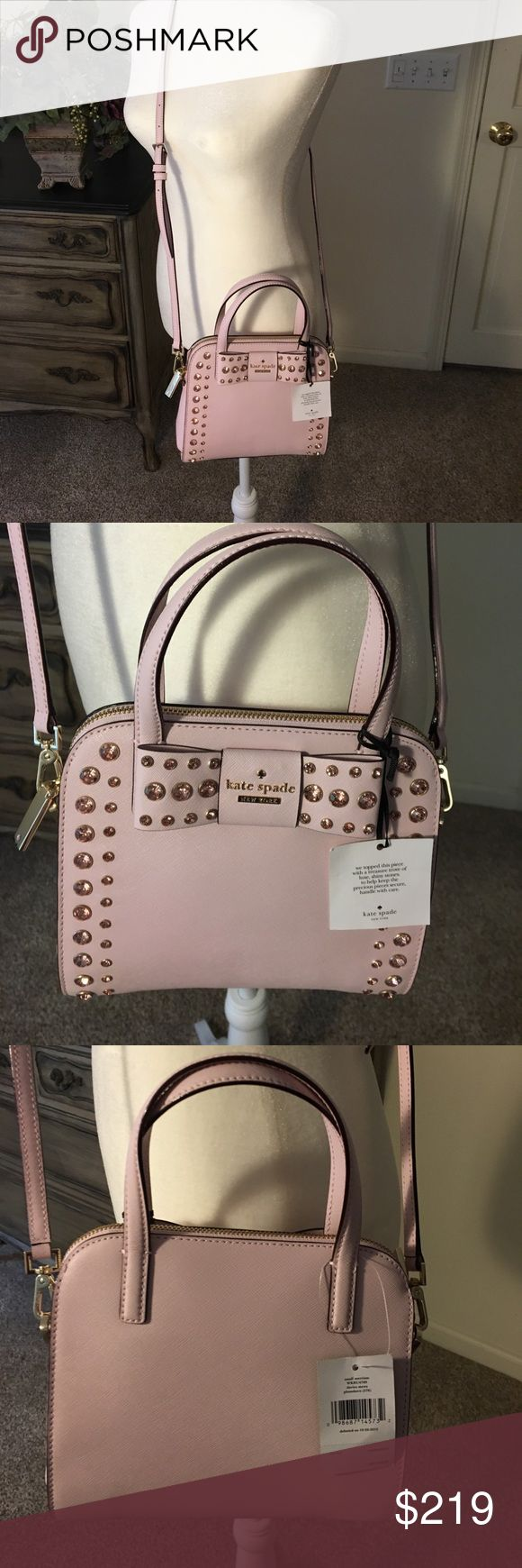 Kate Spade Small Merriam Davies Mew pink purse New with tags! Kate Spade Small Merriam Purse Davies Mew pattern in plum dawn (576) light pink color. Gorgeous! Set in stones pink crystals! Beautiful bag. Matching wallet in separate post. I priced low! Bundle and save 10%!! Measures 8.5 by 8. kate spade Bags Crossbody Bags
