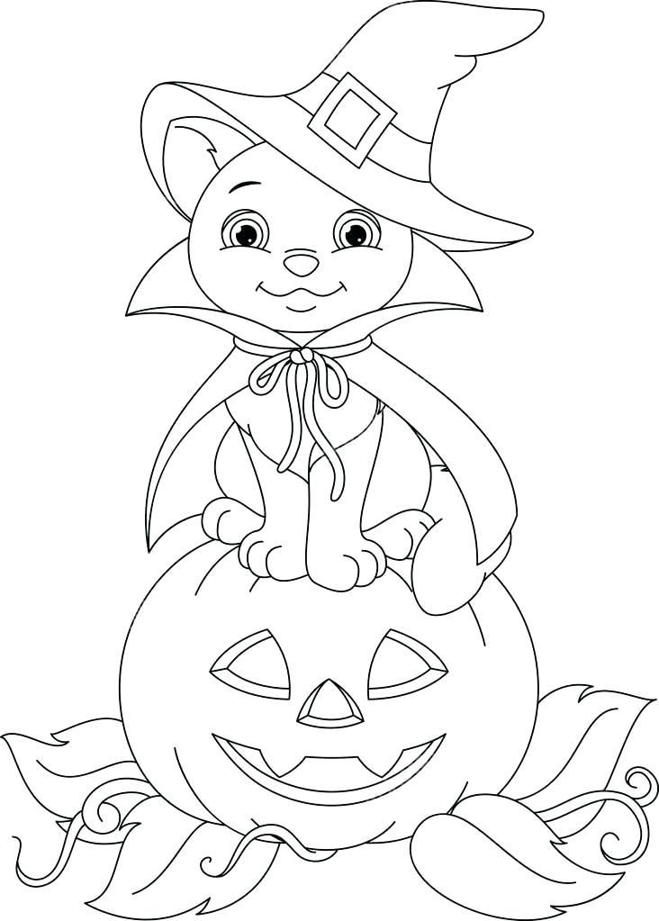 halloween cat coloring page cat witch sitting on a pumpkin ...