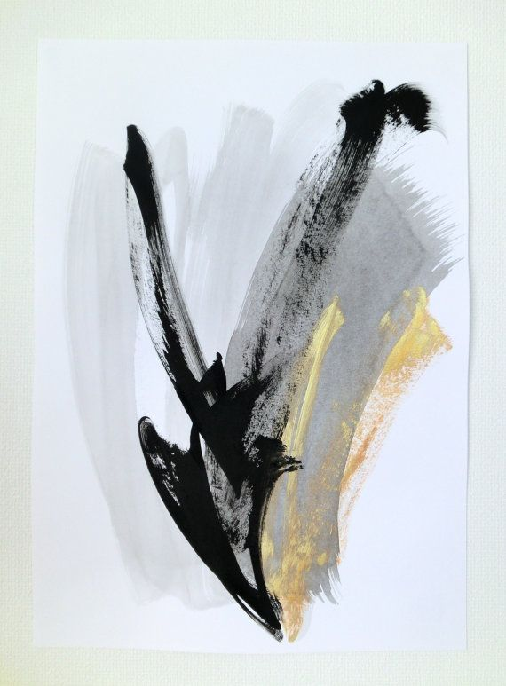 Black and White Art Abstract Art Black Gold Art Black by LennaArty