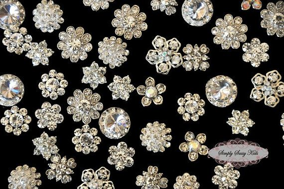 20pc set CLEAR Assorted Dainty Flatback Rhinestone Embellishment Button Brooches DIY wedding bridal favors bling invitations