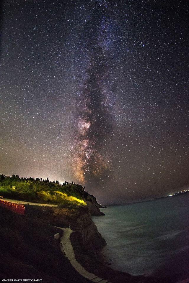 The Milky Way Galaxy from Logas, The Sunset Beach, Peroulades, Corfu. Photo by: Giannis mazis photography. #GreenCorfu - greencorfu.com - https://pinterest.com/greencorfu/
