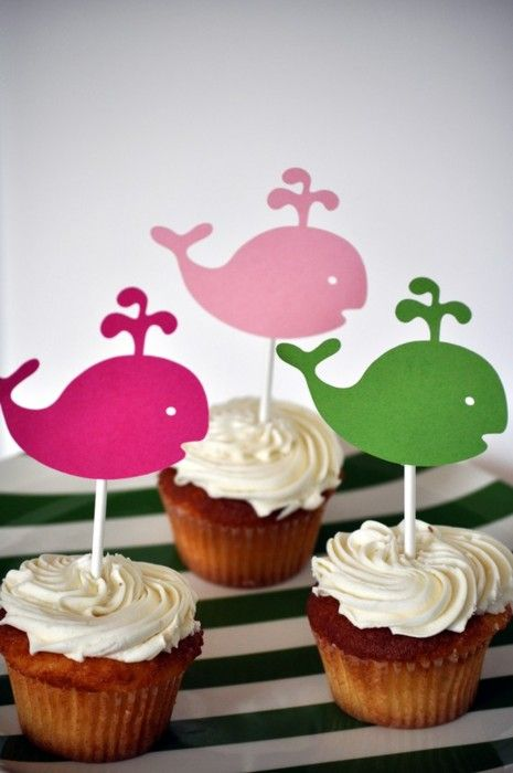 Whale of a cupcake..these are too amazingly cute..would also be cute as sharks for shark week