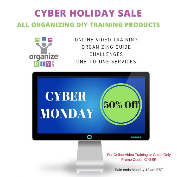 CYBER SALE - 50% off on all services. Pay now to Organize with me in January 2016. https://www.organizediy.com/services/ #organize, #DIY, #cybermonday, #organizedhome, #productivity, #organization, #stressfree, #relaxed
