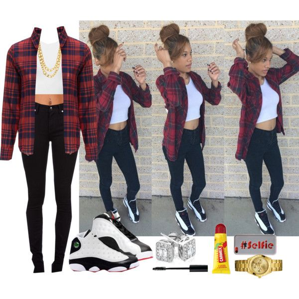 A fashion look from October 2014 featuring red button up shirt, crop tank top and purple skinny jeans. Browse and shop related looks.