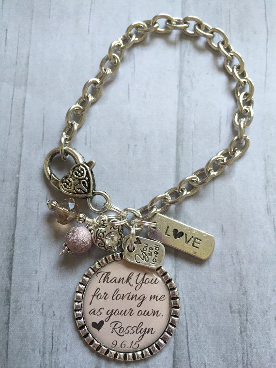 STEPMOTHER of the Bride Bracelet / Bridal Party Gift / Mother of the Bride / Bridal Shower Thank You Gift / Wedding Jewelry / Step Mom /