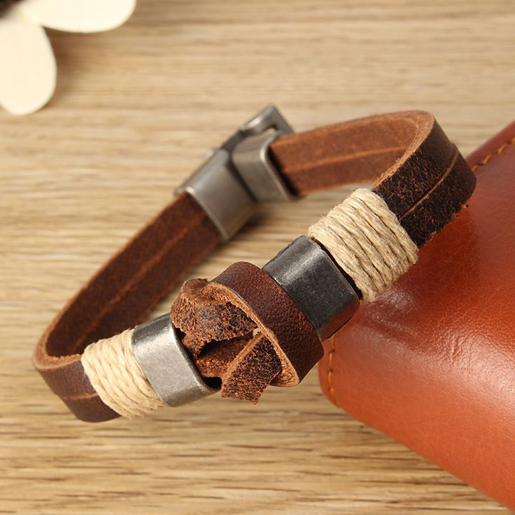 European Style Retro Vintage Leather Men Bracelet Buckle Double layers Chain at Banggood