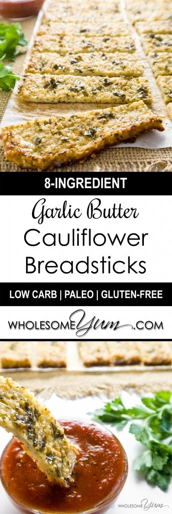 Garlic Butter Cauliflower Hemp Seed Breadsticks (Paleo, Low Carb) - These paleo, low carb, crispy garlic butter breadsticks are made with cauliflower and hemp seeds. Gluten-free, healthy, and easy to make! | Wholesome Yum - Natural, gluten-free, low carb recipes. 10 ingredients or less.