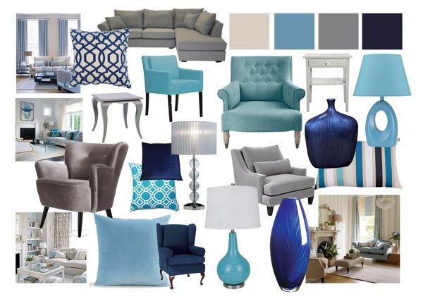 Grey and Blue Living Room Mood Boards by Amy Farrar, via Behance