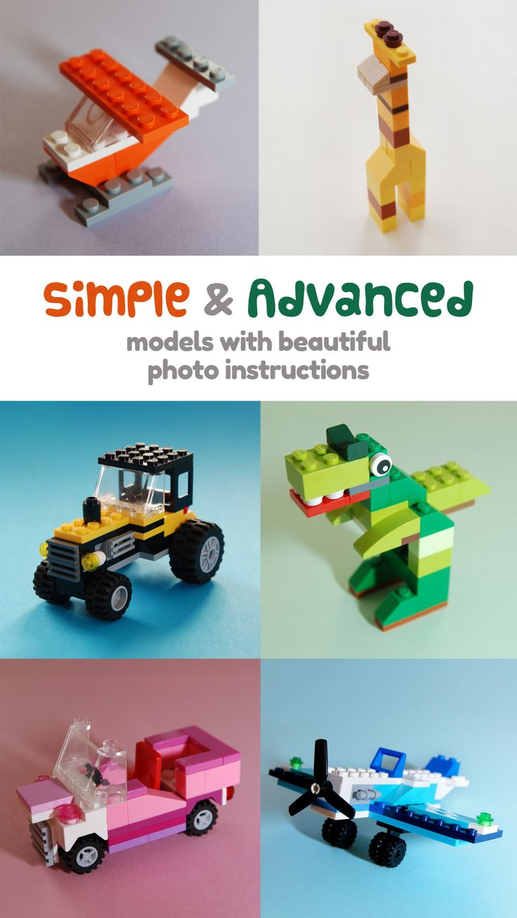 Get an app (for Apple iOS, Android, Kindle) and build cool Lego models using detailed step-by-step photo instructions. Using mostly basic parts you already have, you can build simple or more advanced models that just look great.
