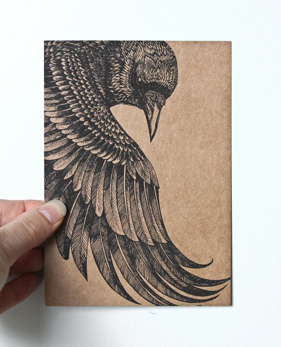 Original Art Postcard, detailed hand drawing of a Raven, black on recycled brown paper