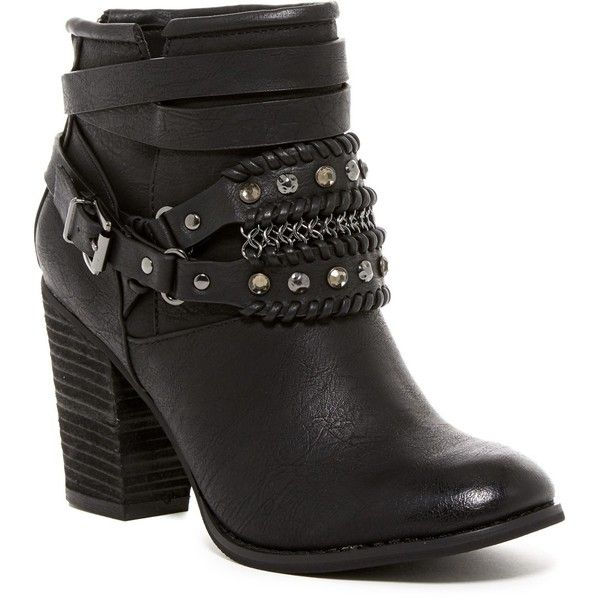 Not Rated Nae Nae Bootie ($40) ❤ liked on Polyvore featuring shoes, boots, ankle booties, black, not rated boots, round toe boots, ankle boots, black bootie and black bootie boots