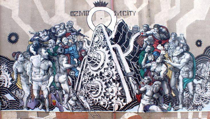 Ozmo M-City  'Last Movie' Gdansk 2010 30x22m mixed media on wall DETAIL