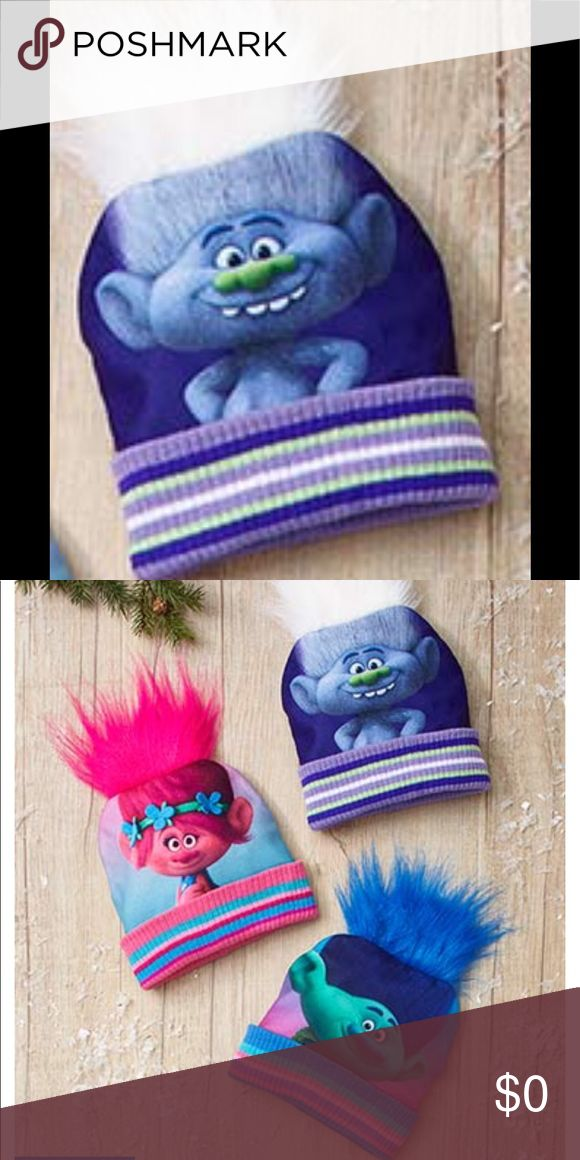 "Troll Guy Diamond Hat with Hair - NWT Super Cool Guy Diamond Trolls Hat with White Hair. Each hat features a cute character face with cool troll hair on top and a striped cuff at the bottom. One size fits most kids ages - Polyester and acrylic.  Bonus ""Bling & Whimsey"" Necklace ($10 value) FREE with purchase of this Awesome Trolls Hat!!  DreamWorks Accessories Hats"