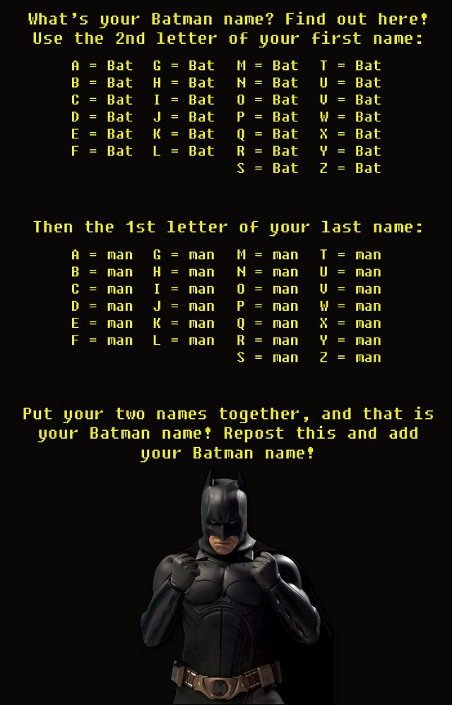 awesome superhero pictures whats your batman name fun
