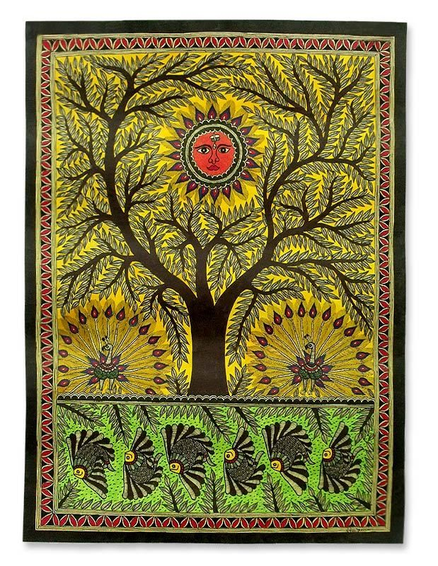 Original Madhubani Painting Folk Art Signed 'Tree of Life' Novica India | eBay